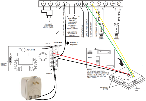 Can I Wire A 6150 To An Aux Power Supply Alarm Grid. Shown Is A Vista20p Panel 6150 And An Ad12612 Power Supply With 1361 Transformer Wired In This Way The Will Draw Current For Its Operation. Wiring. Transformer Wiring Diagram Honeywell Security At Scoala.co