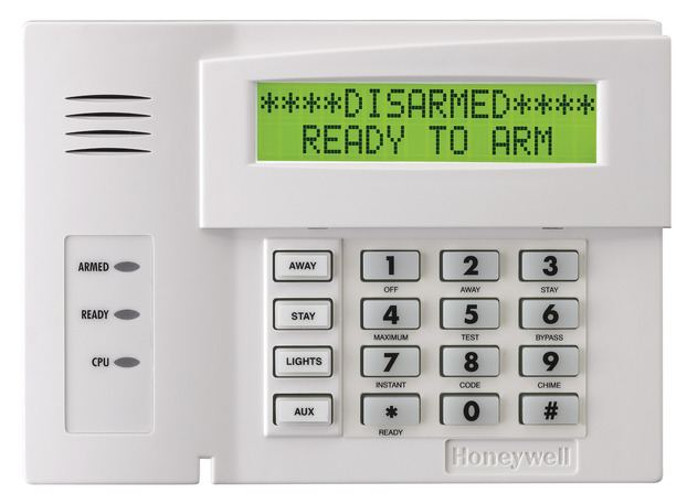 Honeywell 6164us alphanumeric alarm keypad with four integrated hardwired zones