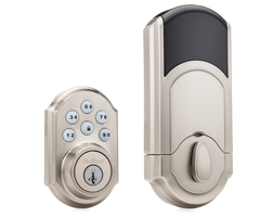 Kwikset 910 z wave push button deadbolt lock polished brass