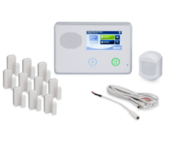 "2GIG GC2 10-1 Kit - Wireless Security System, 10 Door/Window Sensors, Motion, and 8"" Cable"