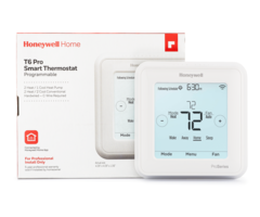 Honeywell T6 Pro WIFI - Smart Programmable WIFI Thermostat in front of box