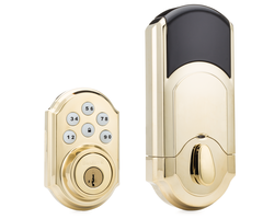 Kwikset 910 - Z-Wave Push Button Deadbolt Lock (Polished Brass)