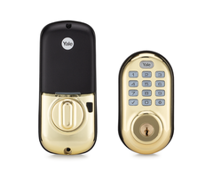 Yale YRD216 Brass Front - Z-Wave Push Button Deadbolt Lock